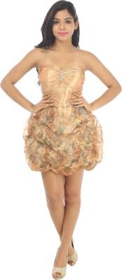 Live With Style Women's Empire Waist Gold Dress