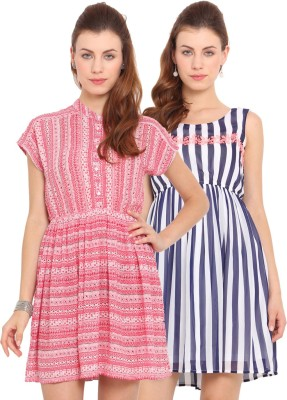 Ama Bella Women's A-line Pink, Blue, White Dress