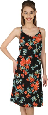 Aussehen Women's Gathered Black, Multicolor Dress