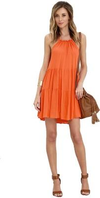 Firki Women's High Low Orange Dress