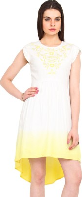 Femenino Women's A-line White, Yellow Dress