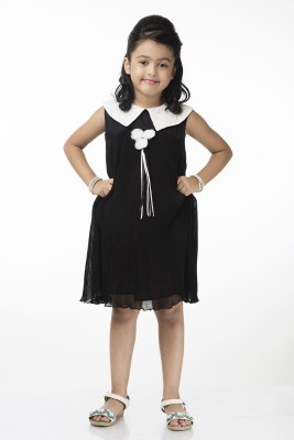Vastra Valley Girl's A-line Black Dress