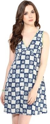 Indibox Women's A-line Dark Blue Dress