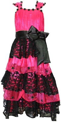 Cherrypup Girl's Layered Pink, Black Dress