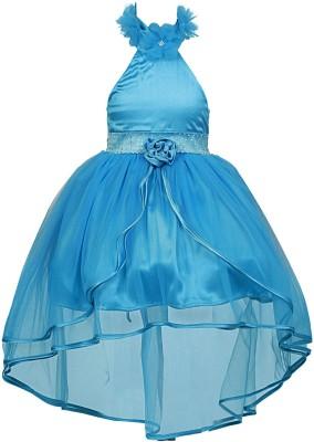 TheNightingales, Girl's Empire Waist Light Blue Dress