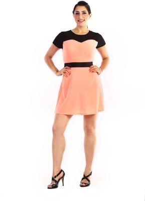 Jiiah Women's Gathered Orange, Black Dress
