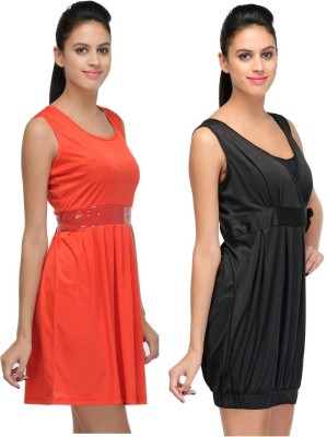 Abhinav Fashion Women's Fit and Flare Red, Black Dress