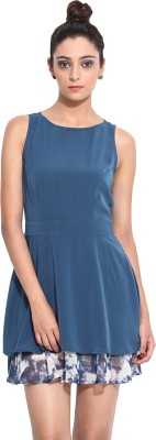 Pera Doce Women's Fit and Flare Blue Dress
