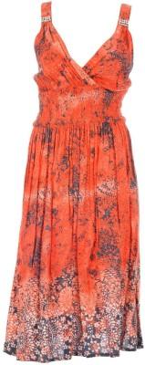 Pure Nautanki Women's Empire Waist Orange Dress
