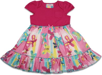 Crayon Flakes Girl's Gathered Pink Dress