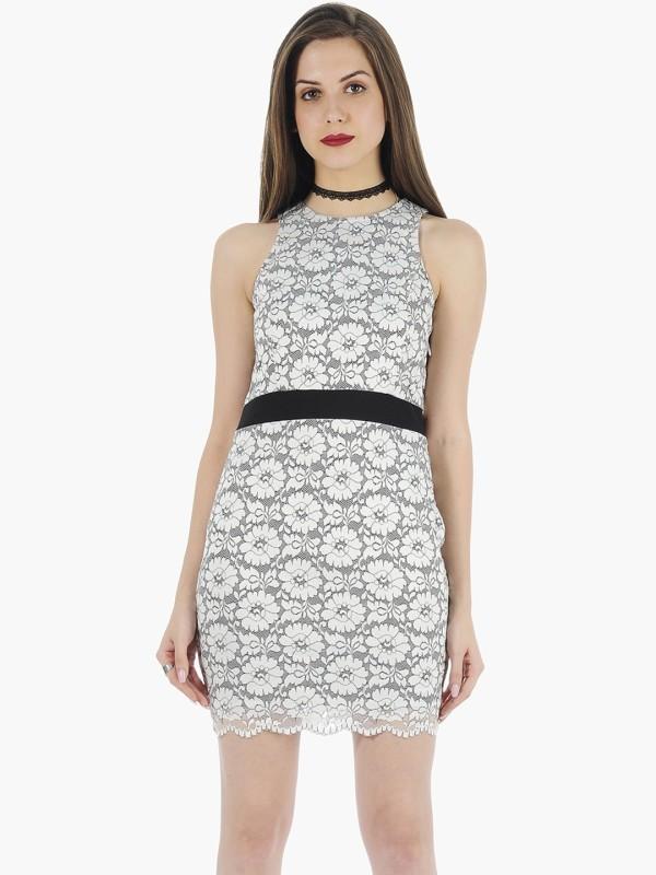 FabAlley Women's Bandage White Dress