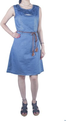 Mitra Creations Women,s A-line Light Blue Dress