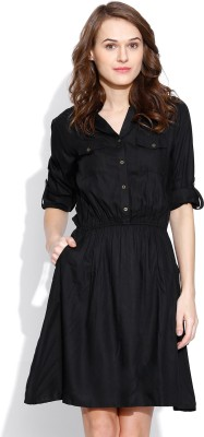 Vaak Women's A-line Black Dress