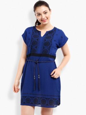 Folklore Women's A-line Dark Blue, Black Dress
