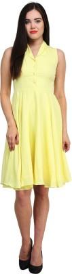 Femninora Women's A-line Yellow Dress
