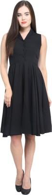 Femninora Women's A-line Black Dress