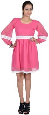 Indicot Women's A-line Pink Dress