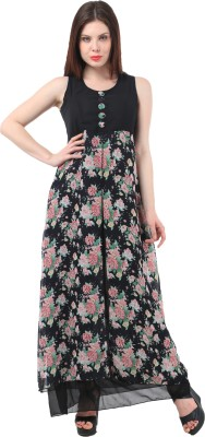 MEET NEX Women's Fit and Flare Multicolor Dress