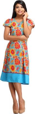 Cottinfab Women's Fit and Flare Multicolor Dress at flipkart