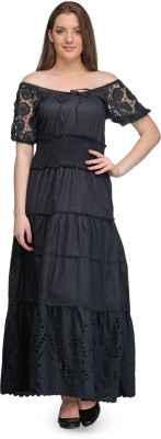 India Inc Women's Maxi Black Dress
