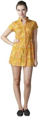 Hlsangam Women's Gathered Yellow Dress