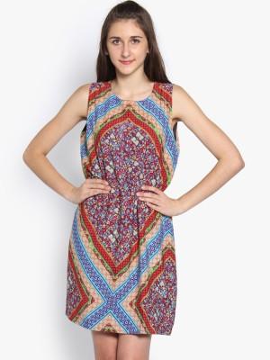 Folklore Women's Gathered Maroon, Light Blue Dress