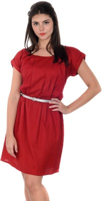 Urban Religion Women's Fit and Flare Red Dress at flipkart