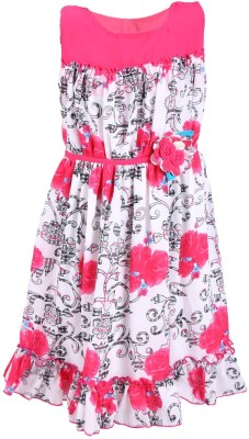 Jilax Girl's Fit and Flare Pink Dress
