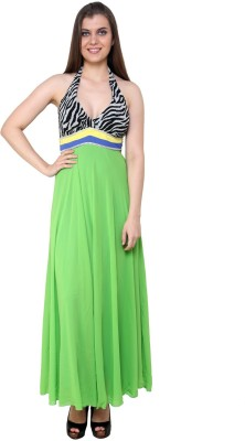 Blissskart Women's Maxi Green, Black Dress