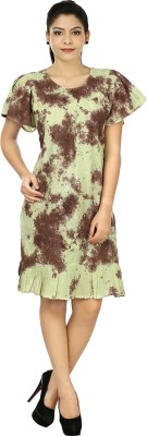 India Inc Women's A-line Green, Brown Dress