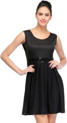 RAPCHIK Women's Fit and Flare Black Dress