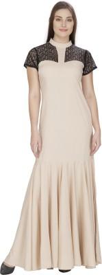 Pops N Pearls Women's Gathered Beige Dress