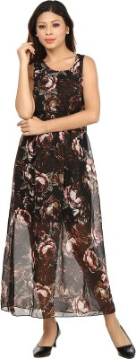 G & M Collections Women's Maxi Brown, Red Dress