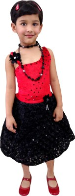 Little Leaf Girl's Gathered Red, Black Dress