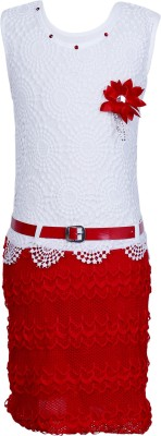Crazeis Girl's Gathered White, Red Dress