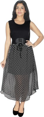 Fashion Hut Women's Fit and Flare Black, White Dress