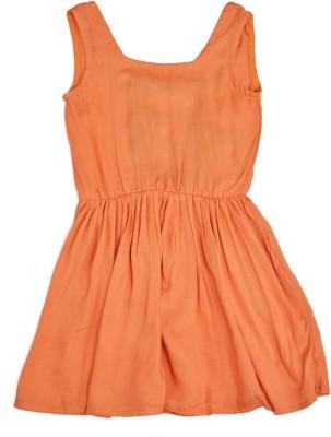 Yufta Girl,s Gathered Orange Dress