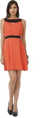 Shubhangini Fashion Women's Gathered Orange, Black Dress