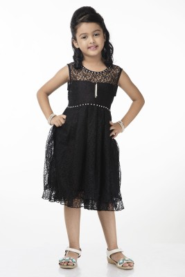 Vastra Valley Girl's Gathered Black Dress