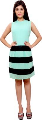 Maya Creations Women's A-line Green, Black Dress