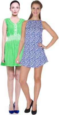 My Addiction Women's A-line Green, Blue Dress