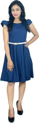 Shopaholic Fashion Women's Gathered Blue Dress