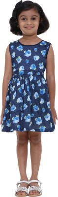 Indiwagon Girl's Gathered Dark Blue Dress
