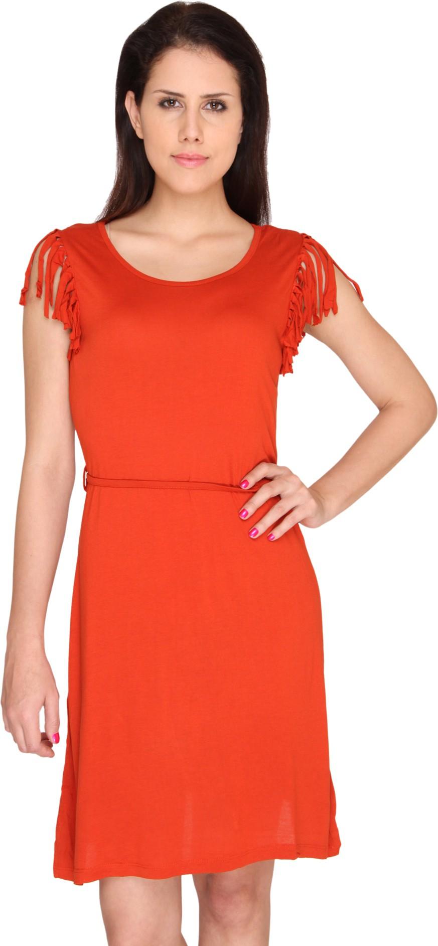 Bedazzle Womens Shift Orange Dress