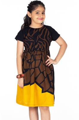 Ventra Girl's Gathered Brown Dress