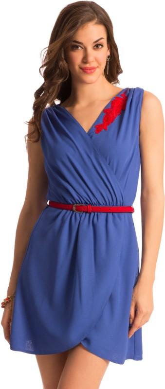 PrettySecrets Women's Sheath Blue Dress