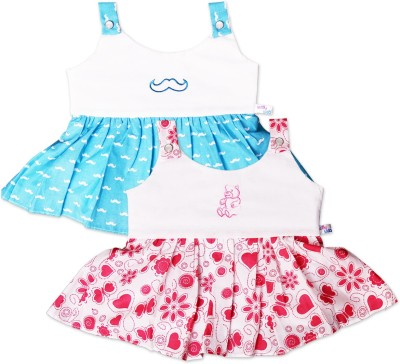 Knotty Kids Baby Girl's Gathered Multicolor Dress