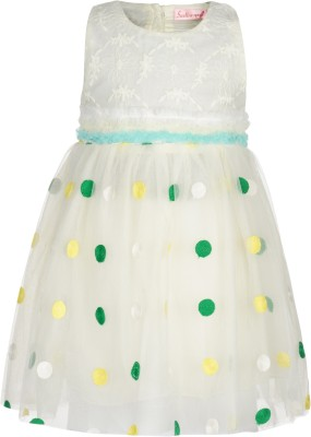 Toy Balloon Kids Girl's A-line White, Green Dress