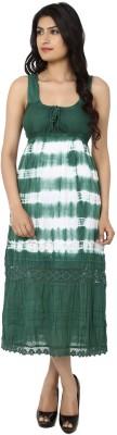 India Inc Women's A-line Green, White Dress