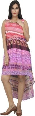 Dovekie Women's High Low Multicolor Dress